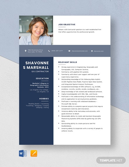GIS Contractor Resume Template