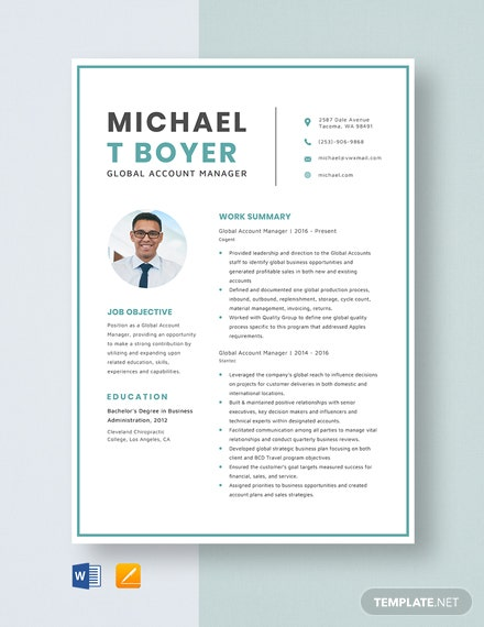 Global Account Manager Resume Template