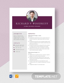 Global Business Manager Resume Template