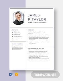 Global Commodity Manager Resume Template