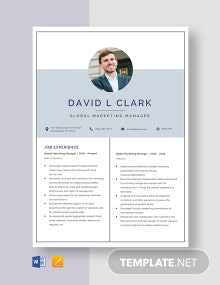 Global Marketing Manager Resume Template