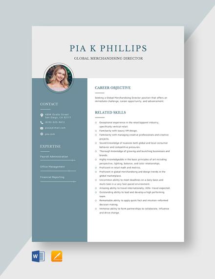 Global Merchandising Director Resume