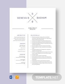 Global Mobility Specialist Resume Template