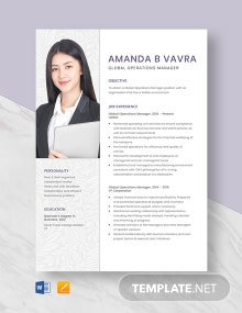 Global Operations Manager Resume Template