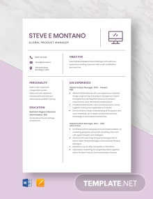 Global Product Manager Resume Template