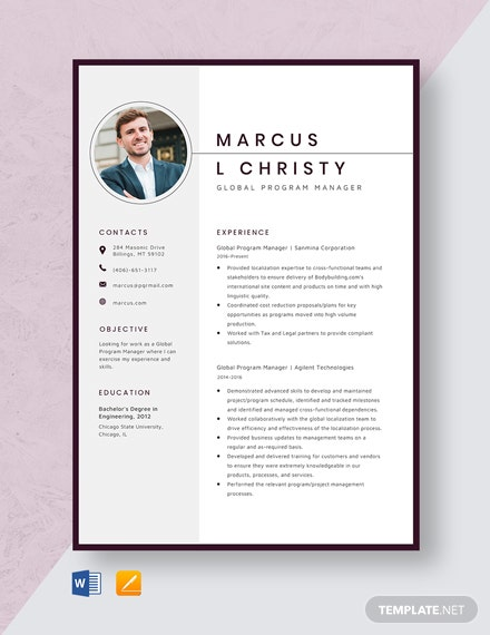 Global Program Manager Resume Template