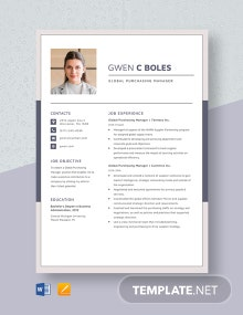 Global Purchasing Manager Resume Template