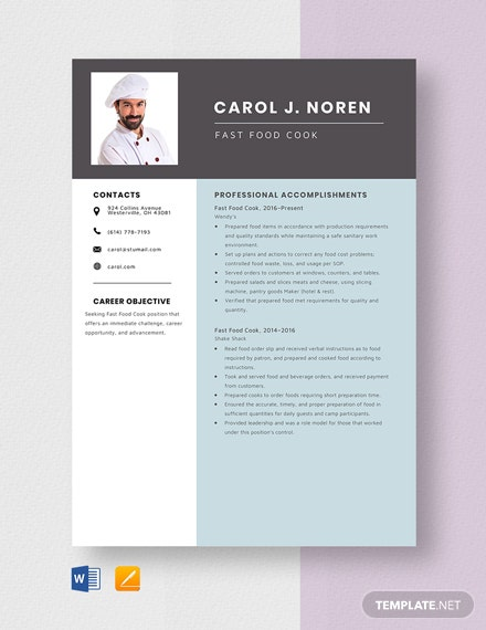 Fast Food Cook Resume Template