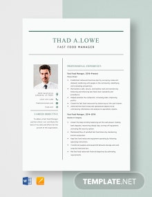 Fast Food Manager Resume Template