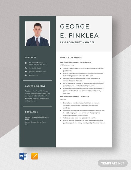Fast Food Shift Manager Resume Template