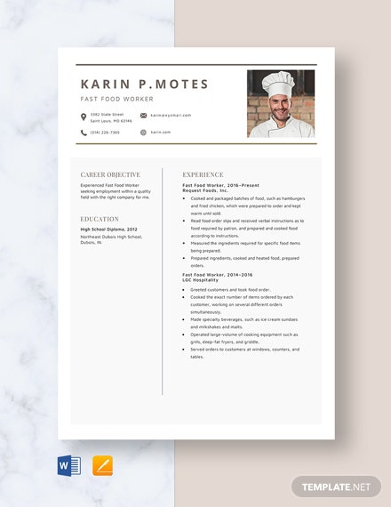 Fast Food Worker Resume Template