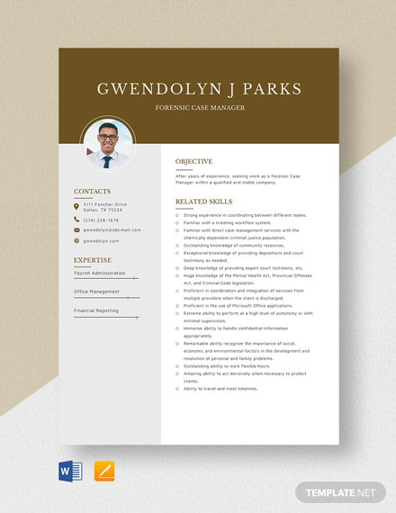 Forensic Case Manager Resume Template