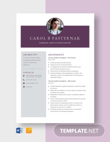 Forensic Death Investigator Resume Template