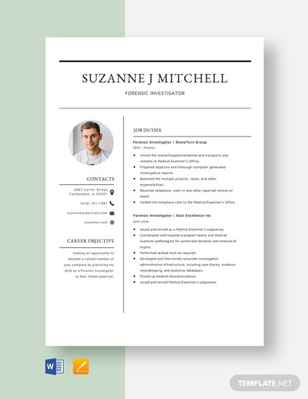 Forensic Investigator Resume Template