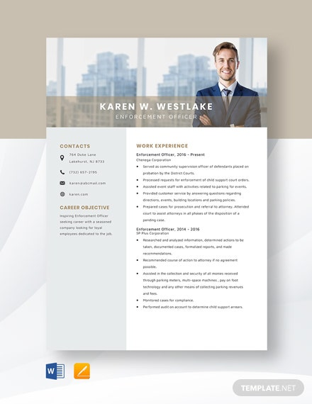 Enforcement Officer Resume Template