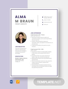 Freight Associate Resume Template