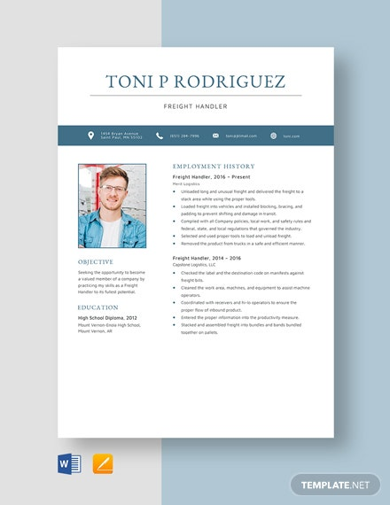 Freight Handler Resume Template