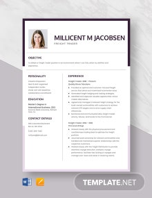 Freight Trader Resume Template