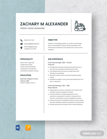 Fresh Food Manager Resume Template