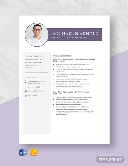 Front Office Administrator Resume Template