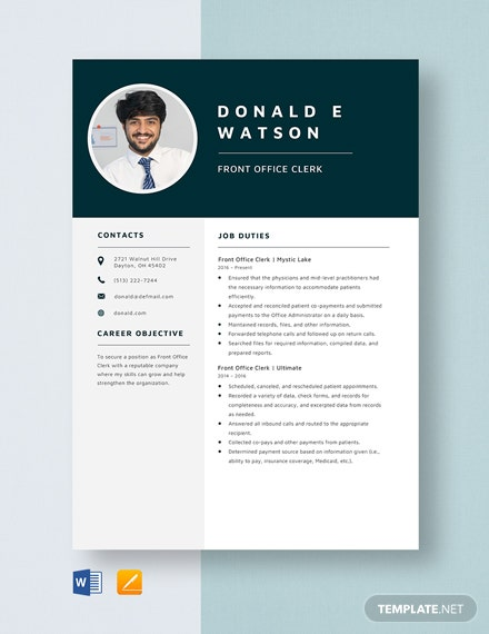 free front end developer resume template