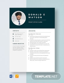 Front Office Clerk Resume Template