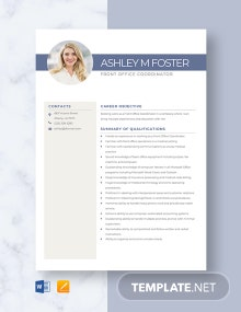 Front Office Coordinator Resume Template