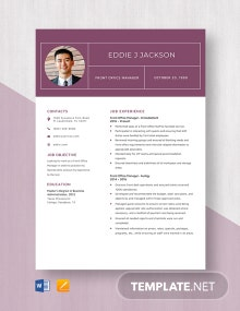 Front Office Manager Resume Template