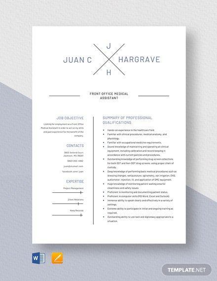 Front Office Medical Assistant Resume Template