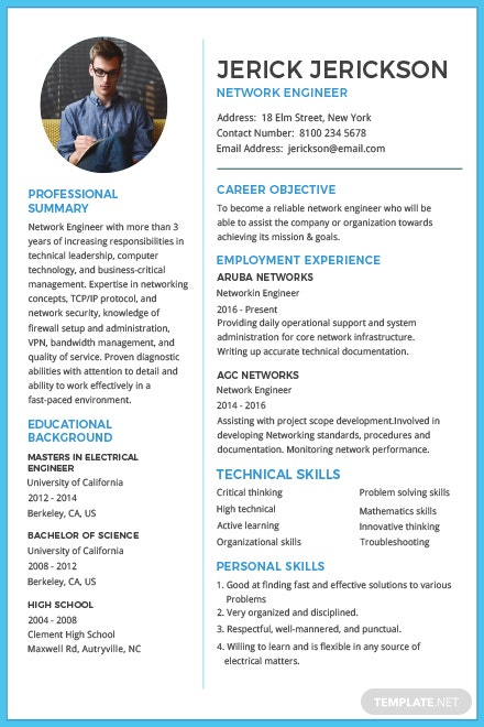 free basic network engineer resume and cv template in adobe