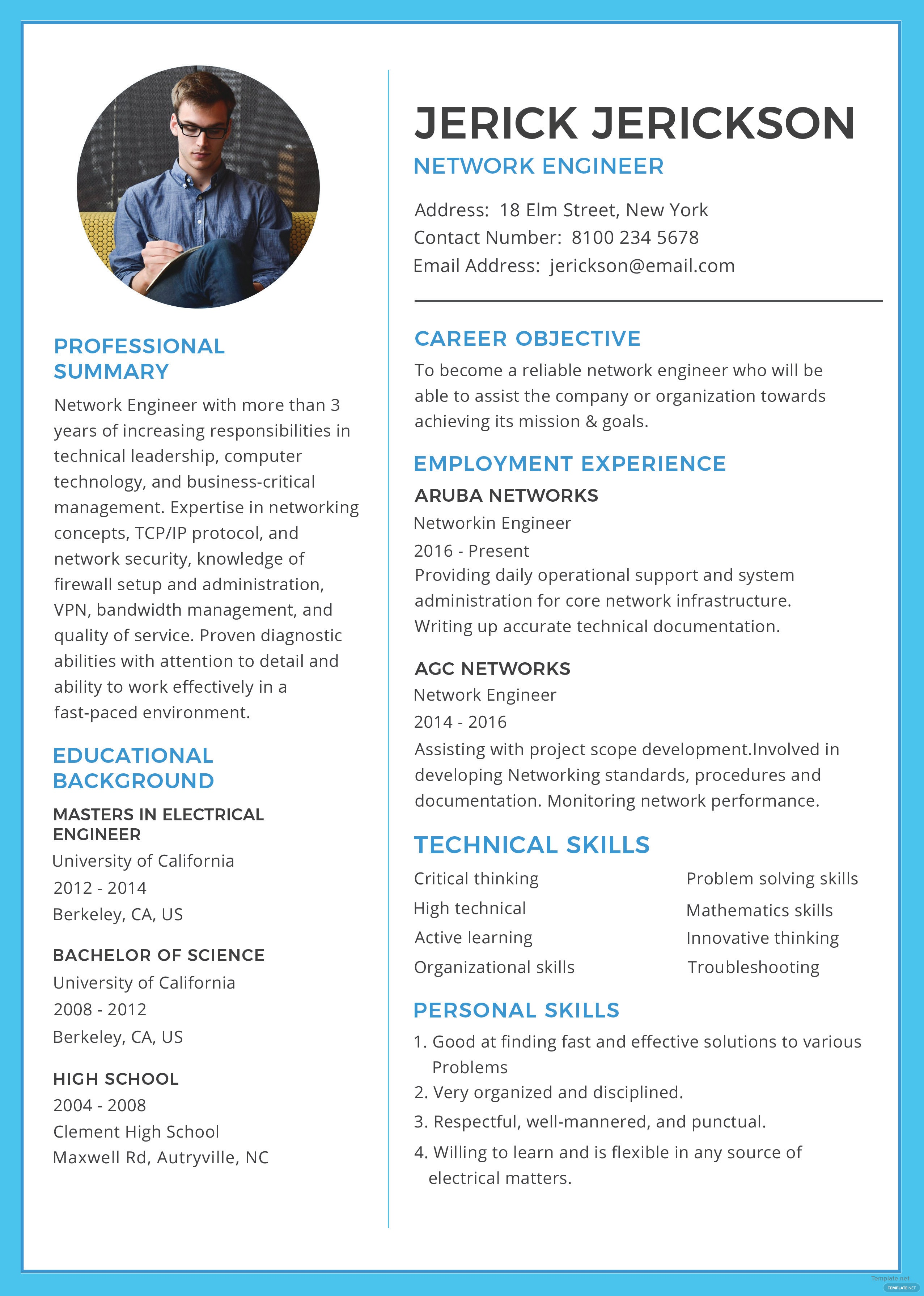 free basic network engineer resume and cv template in adobe photoshop  microsoft word  adobe