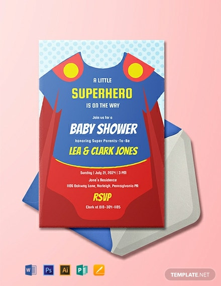Free Superhero Onesie Baby Shower Invitation Template