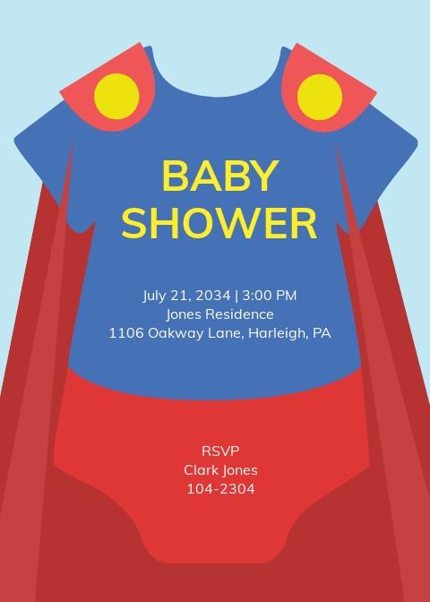 Free Superhero Onesie Baby Shower Invitation Template
