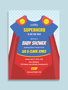 Superhero Onesie Baby Shower Invitation Template