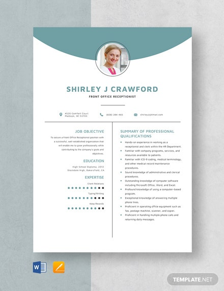 Front Office Receptionist Resume Template