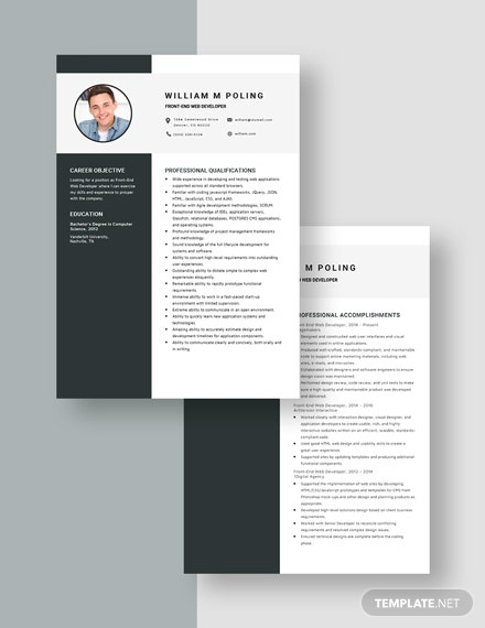 FrontEnd Web Developer Resume  Download