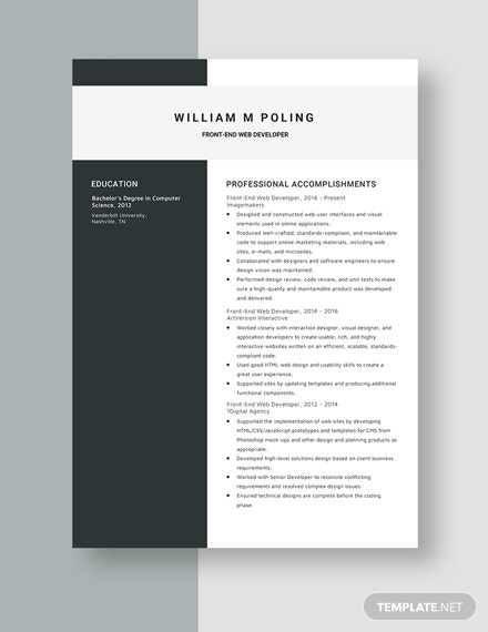 FrontEnd Web Developer Resume  Template