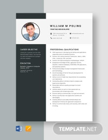 Front-End Web Developer Resume Template