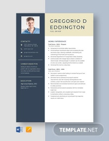 Fuel Driver Resume Template