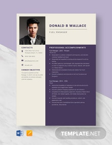 Fuel Manager Resume Template