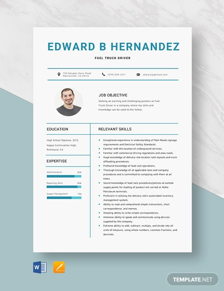 Fuel Truck Driver Resume Template