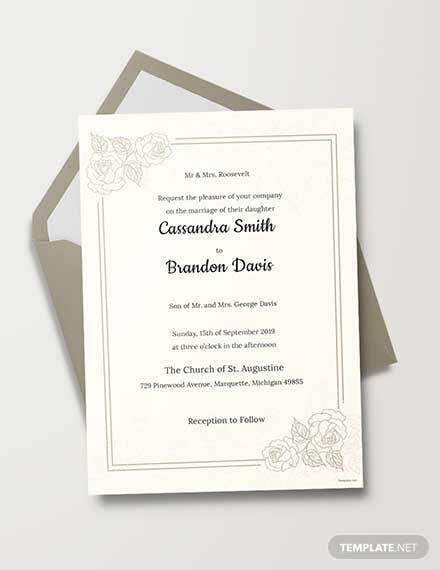 Free Traditional Wedding Invitation Template
