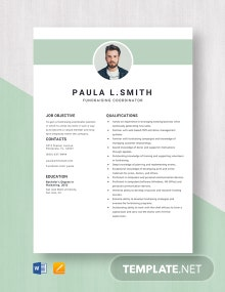 Fundraising Coordinator Resume Template