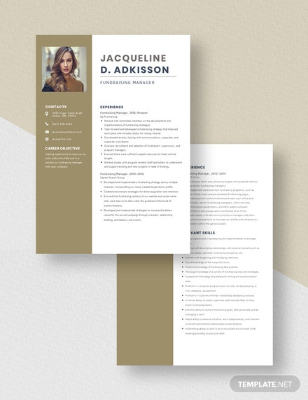 Fundraising Manager Resume  Download