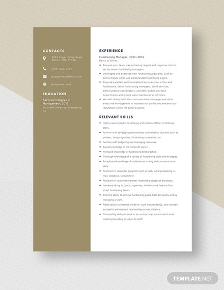 Fundraising Manager Resume  Template