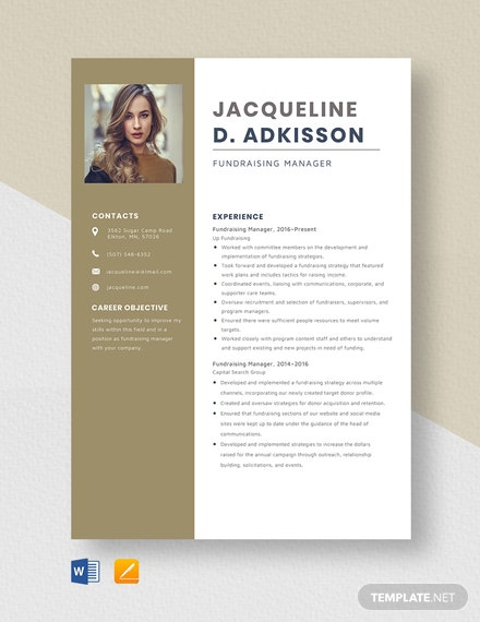 Fundraising Manager Resume