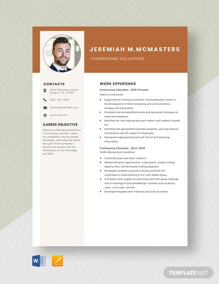 Fundraising Volunteer Resume Template