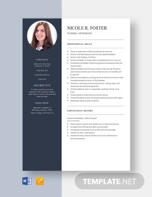 Funeral Attendant Resume Template