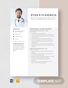 Health Information Specialist Resume Template