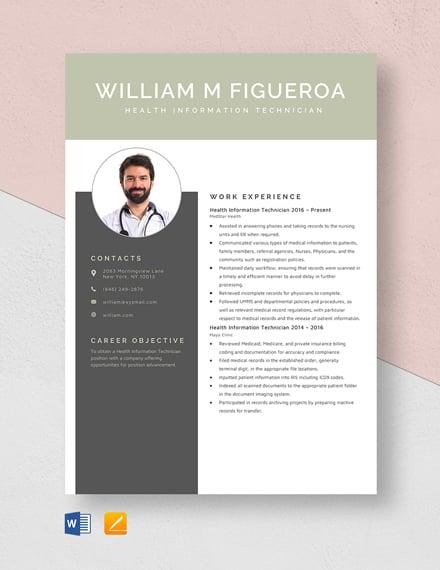 Health Information Technician Resume